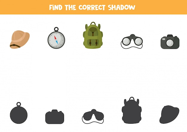 旅行ツールの正しい影を見つけてください。