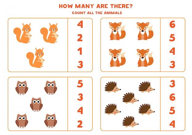 森の動物の数を数えます。子供のための数学のゲーム。