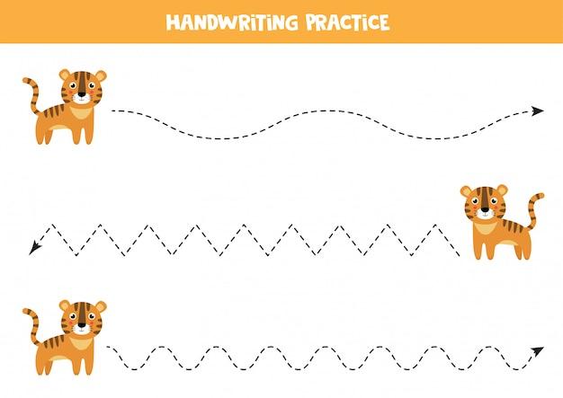 Трассировка линий для дошкольников. милый мультфильм тигр.