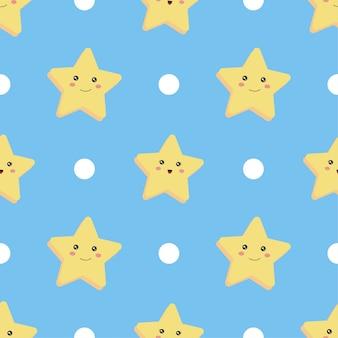 シームレスパターン。星と青の円。