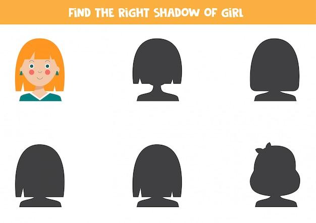 かわいい漫画の女の子の正しい影を見つけてください。