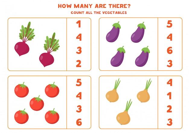 すべての野菜を数えます。ビートルート、トマト、ナス、タマネギ。