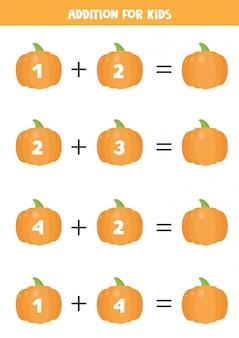 かわいい漫画のカボチャを持つ子供のための追加。数学の方程式。