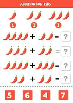 赤唐辛子と子供のための追加。数学の方程式。
