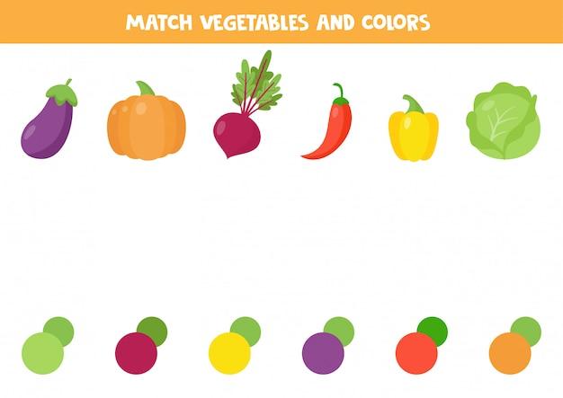 Подберите овощ и его цвет. симпатичная картонная свекла, перец, баклажаны, тыква, капуста.
