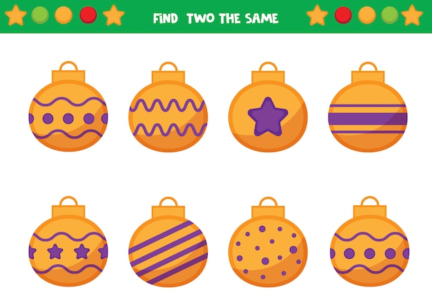 Рождественский лист для дошкольников. найдите два одинаковых новогодних шара. развивающая игра для детей.