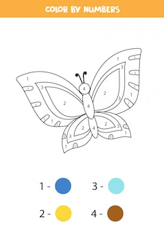 子供のための着色のページ。かわいい漫画の蝶。