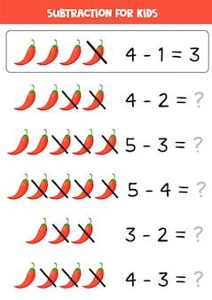 Вычитание для детей. иллюстрация красного перца чили.