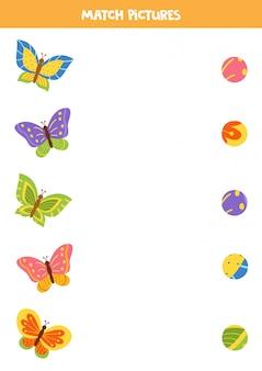 子供のためのマッチングゲーム。かわいいカートン蝶のパターンを見つけます。