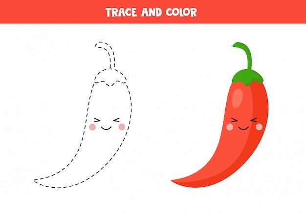 Почерк для детей. проследите красный перец чили и раскрасьте его.