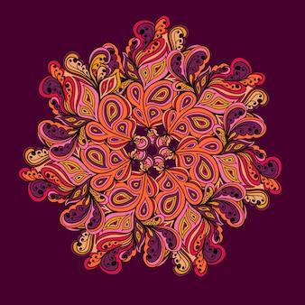 Декоративный круглый кружевной образец, векторный фон круга