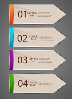 カラフルなベクトルのブックマークとテキストの矢印