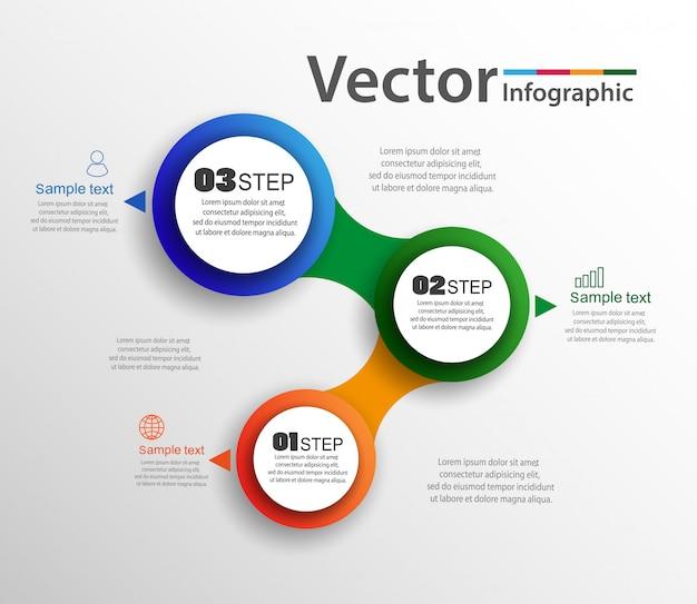 Концепция дизайна инфографика с тремя вариантами или шагами