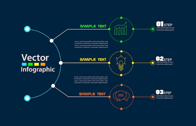 Круг инфографики на синем фоне