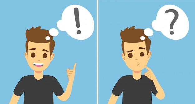 スマートな若い男が考え、問題を理解し、成功した解決策を見つける