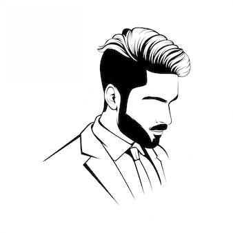 理髪店のロゴマスコットの基本的なラインアート