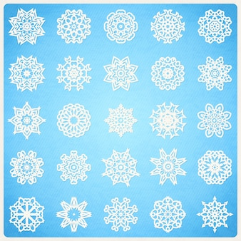 Большой набор снежинок как мандалы