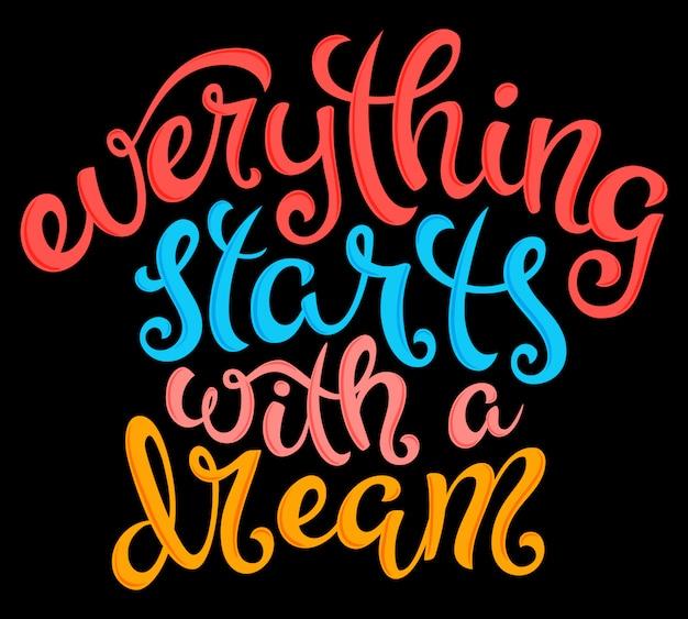 すべては夢のレタリングで始まります