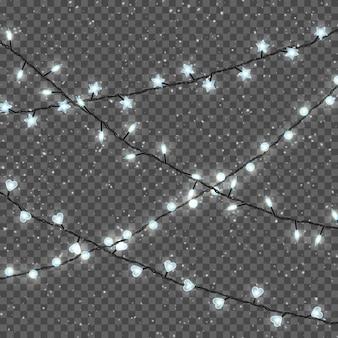 Рождественские огни, изолированные на прозрачной