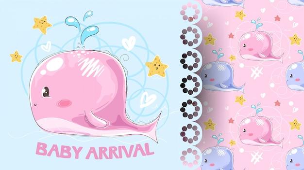 Карточка прибытия детского душа с рисунком кита