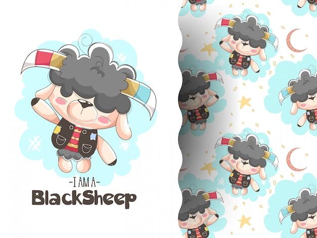 パターンの背景を持つ羊の赤ちゃんのイラスト
