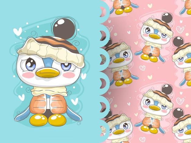 冬の服とパターンの背景を持つ愛らしいペンギン