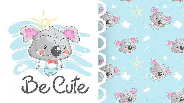 Симпатичный костюм коалы с фоновым рисунком