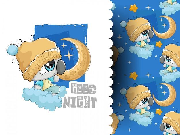 Очаровательная коала с луной и звездами с узорами