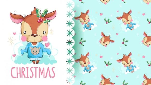 クリスマスのパターンを持つ美鹿