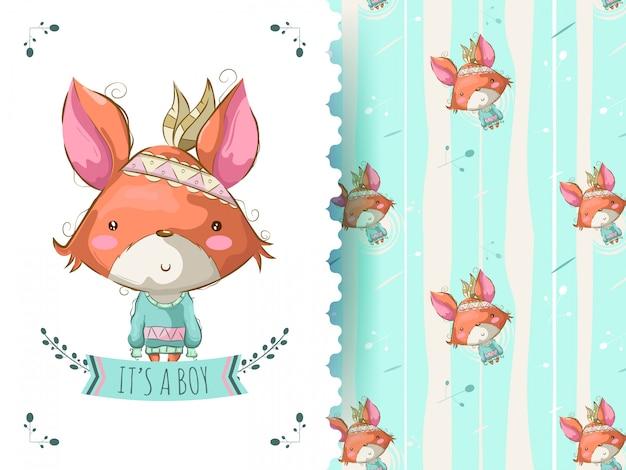 Милая лиса с листом мультфильма
