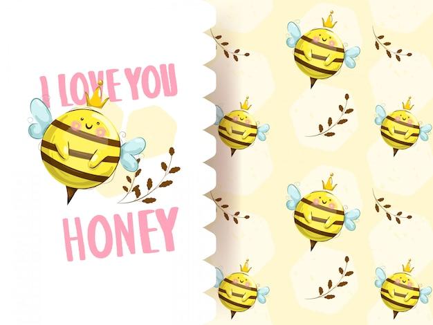 Милая маленькая пчела с бесшовный фон