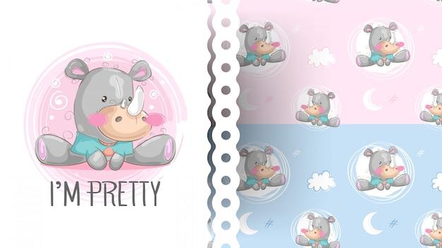 Мультяшный милый носорог с рисунком