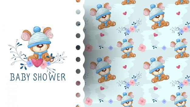 Милый плюшевый мишка с цветочным мультфильмом