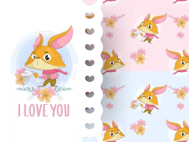 Милая лиса, детский душ или любовная открытка