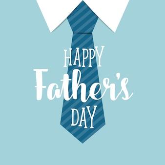 青いネクタイの背景を持つ幸せな父の日