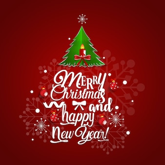 メリークリスマスレタリングとクリスマスの挨拶カード