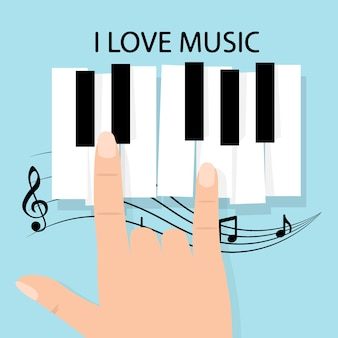 ノートが付いている音楽ピアノキーボード。ポスター背景テンプレート