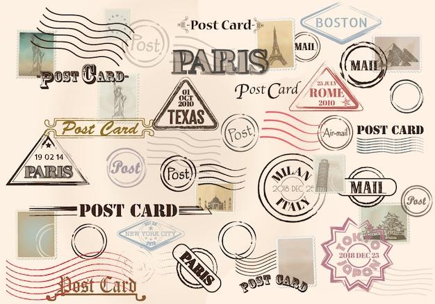Коллекция красочных шероховатых марок с текстом