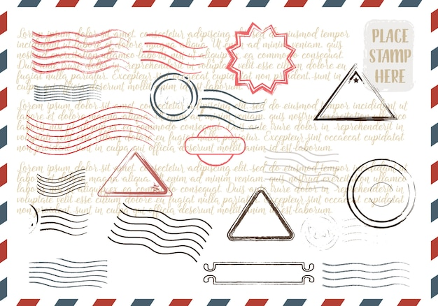 カラフルな切手のスタンプのコレクション