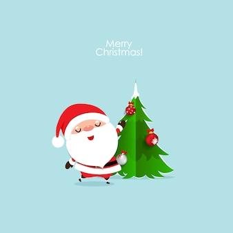 クリスマスサンタクロースとクリスマスの挨拶カード
