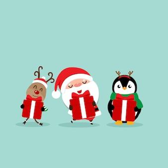 サンタクロース、トナカイ、ペンギンの漫画とホリデークリスマスのグリーティングカード。ベクトルイラスト