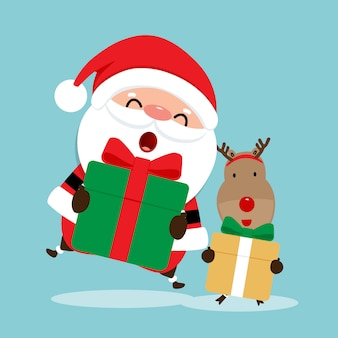 サンタクロースとトナカイの休日のクリスマスのグリーティングカード。ベクトルイラスト