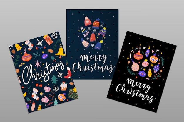 レタリングとメリークリスマスのグリーティングカード