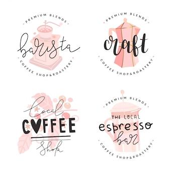Набор кофейных логотипов