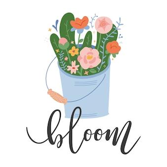 Весенняя надпись с цветами в ведре
