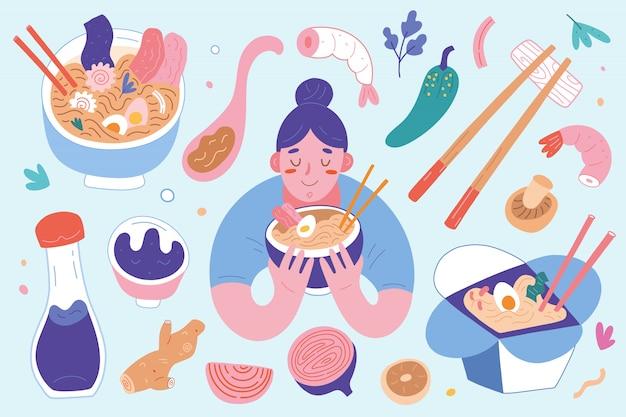 Коллекция рамэн, женщина ест японский суп