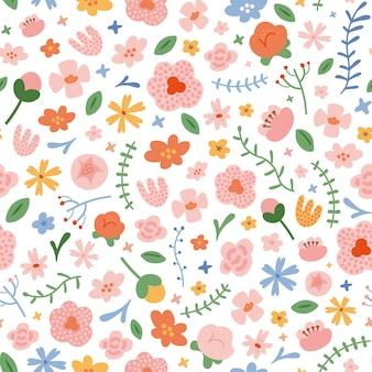Различные весенние цветы, бесшовный фон