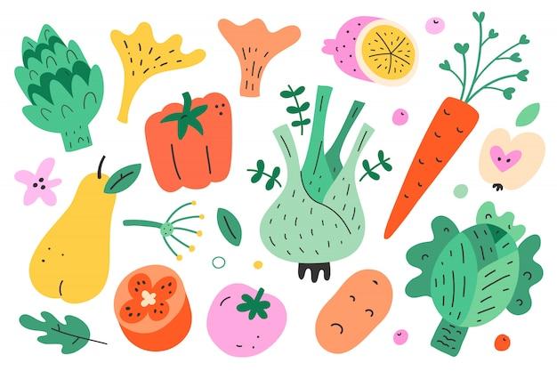 Сбор овощей и фруктов, иллюстрация