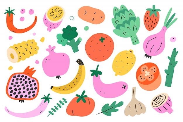 Овощи и фрукты иллюстрация