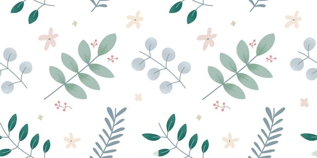 Фон ботаники, листья и ветви, бесшовный узор, рисунки листвы растений, современный простой дизайн, элегантный фон, минималистичный орнамент для модной печати